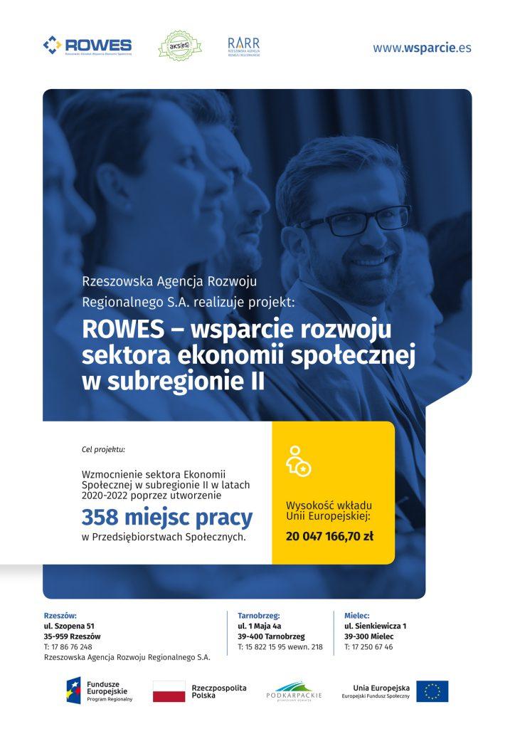 Plakat promocyjny: Rzeszowska Agencja Rozwoju Reginalnego S.A. realizujeprojekt: ROWES - wsparcie rozwoju sektora ekonomii społecznej w subregionie II